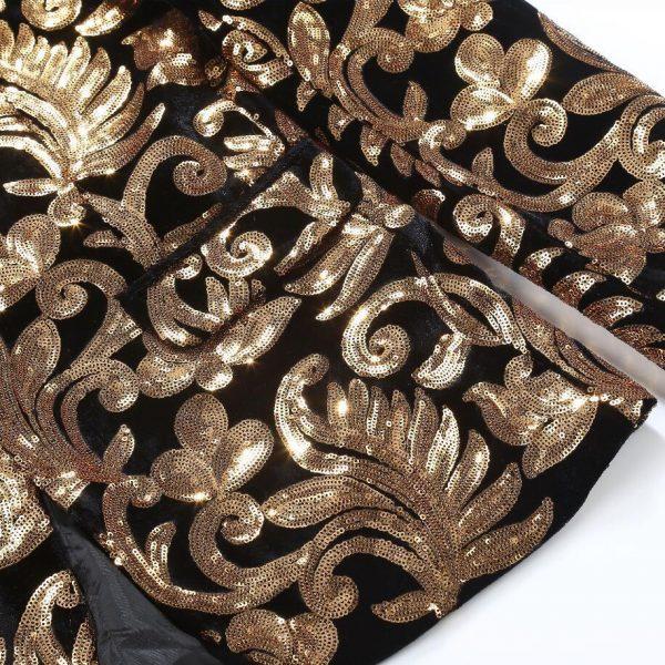 Black and Gold Velvet Prom Tuxedo for Men