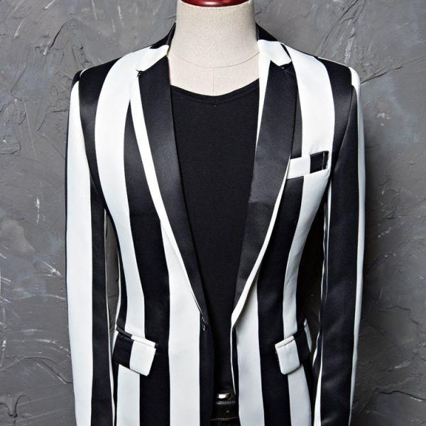 Gentleman's Black And White Striped Blazer