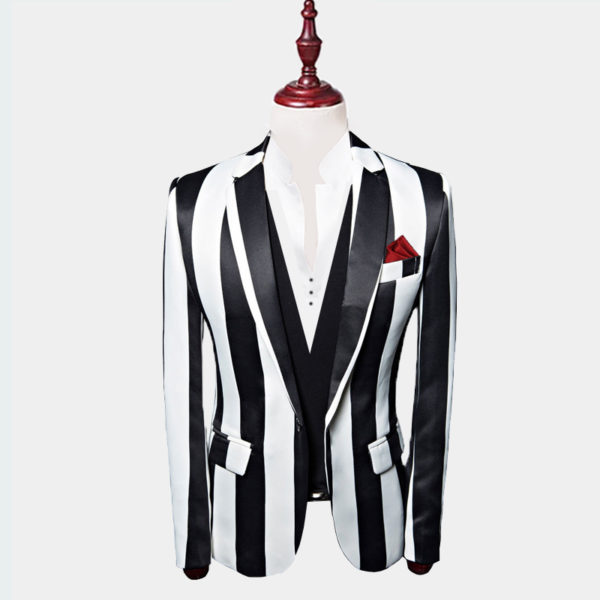 Mens Black And White Striped Blazer Jacket from Gentlemansguru.com