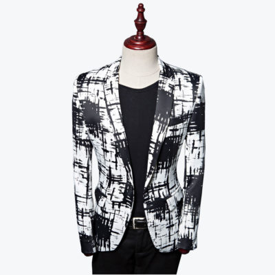 Men's Black And White Blazer