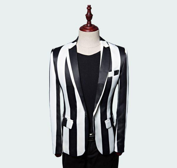 Men's Black And White Striped Blazer