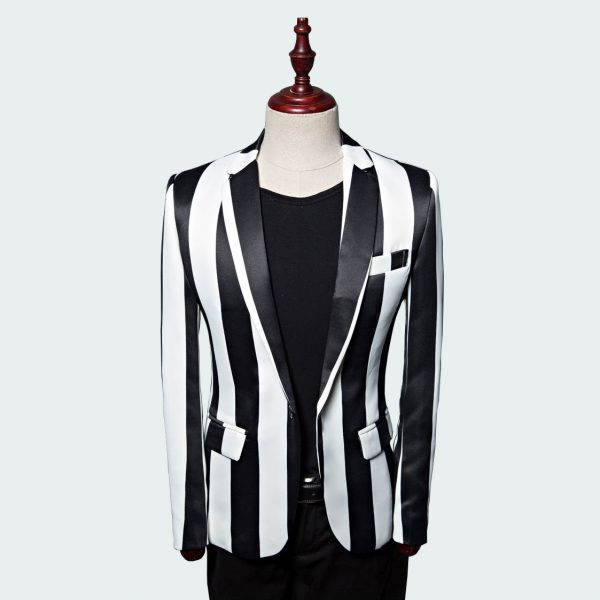 Men's Black And White Striped Blazer