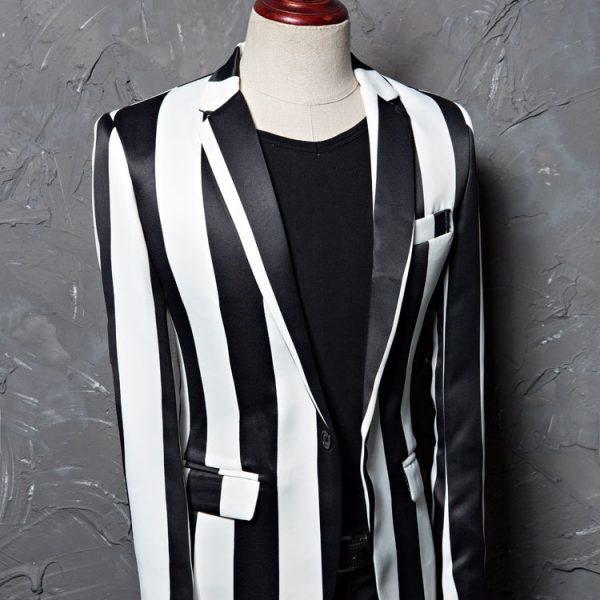 Men's Black And White Striped Jacket Blazer