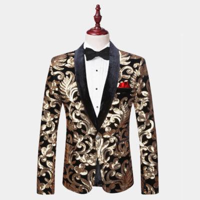 Mens Black and Gold Velvet Tuxedo Jacket