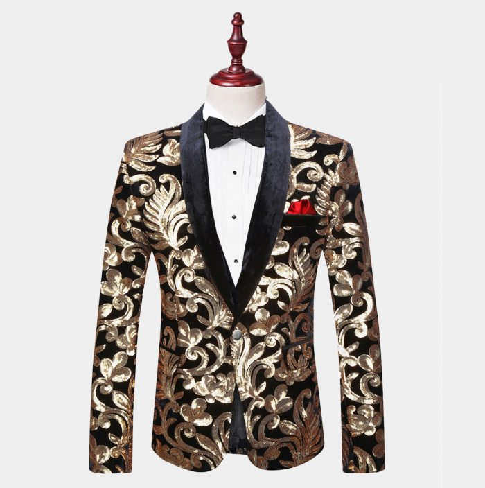 Mens Black and Gold Velvet Tuxedo Jacket