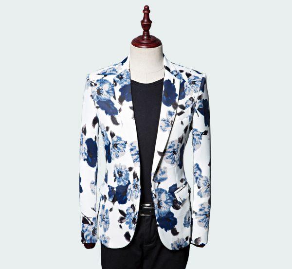 Men's Blue Floral Blazer