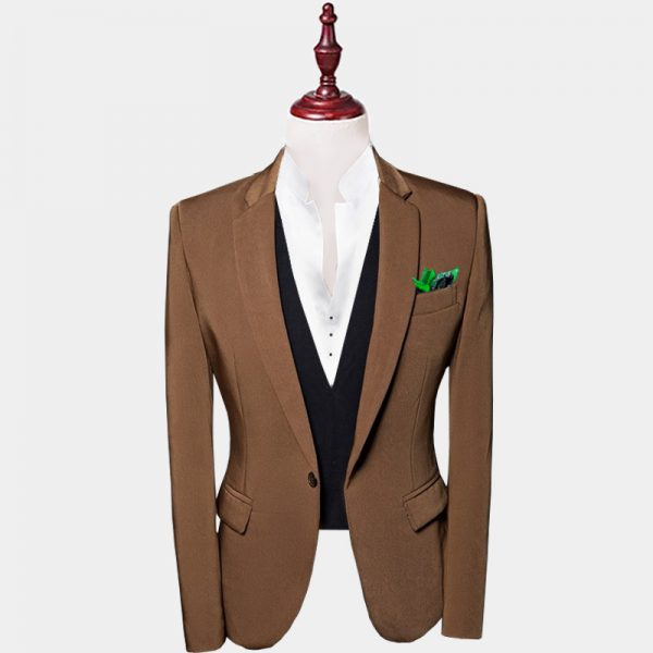 Mens Brown Suit Jacket