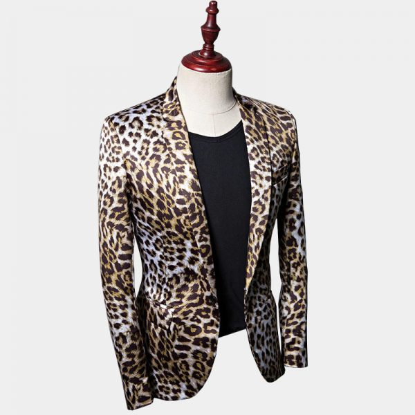 Mens Cheetah Print Blazer Jacket