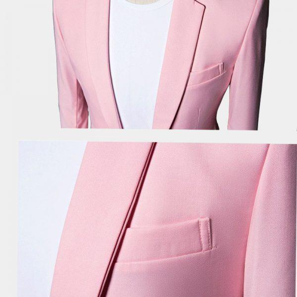 Mens Cotton Light Pink Suit Jacket
