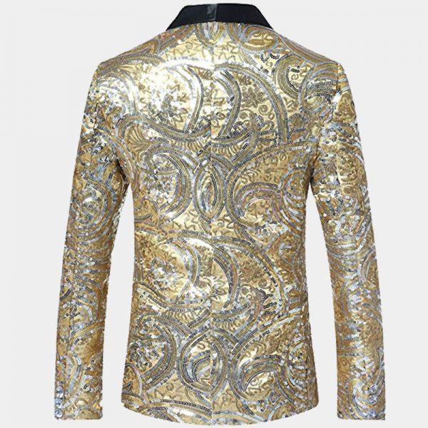 Mens Gold Sequin Tuxedo Blazer Jacket Slim Fit from Gentlemansguru.com-Récupéré