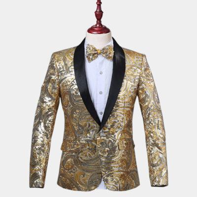 Mens Gold Sequins Tuxedo Jacket