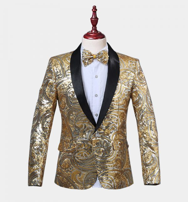 Mens Gold Sequins Tuxedo Jacket