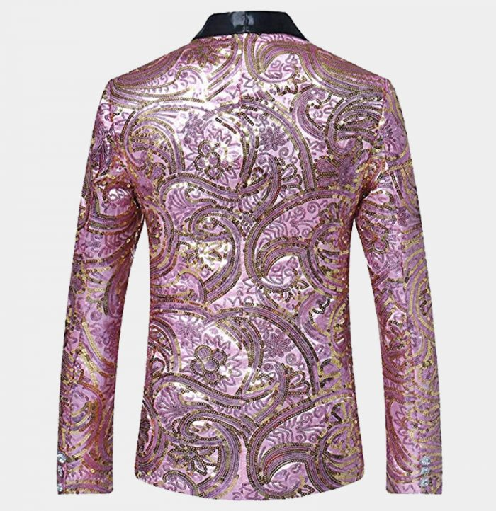 Mens Pink Sequin Tuxedo Blazer Jacket Slim Fit from Gentlemansguru.com-Récupéré