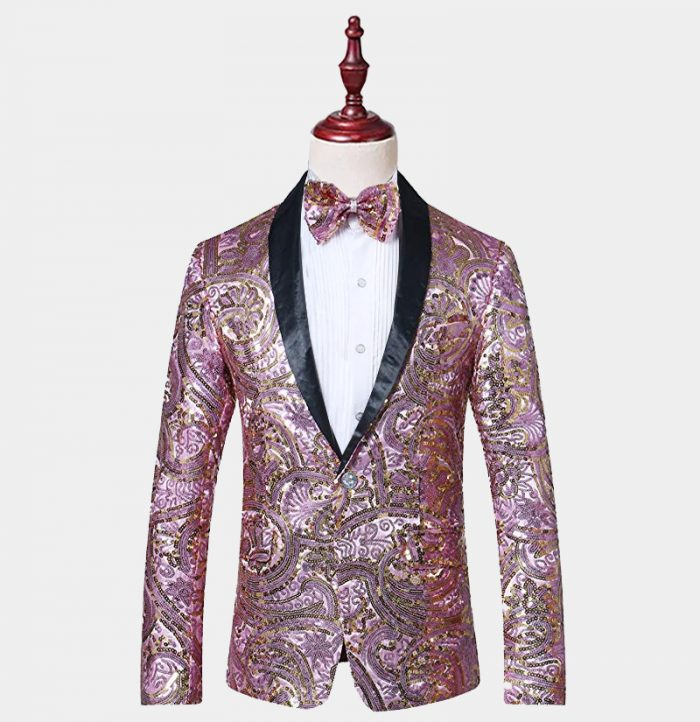 Mens Pink Sequin Tuxedo Jacket Prom-Wedding from Gentlemansguru.com-Récupéré