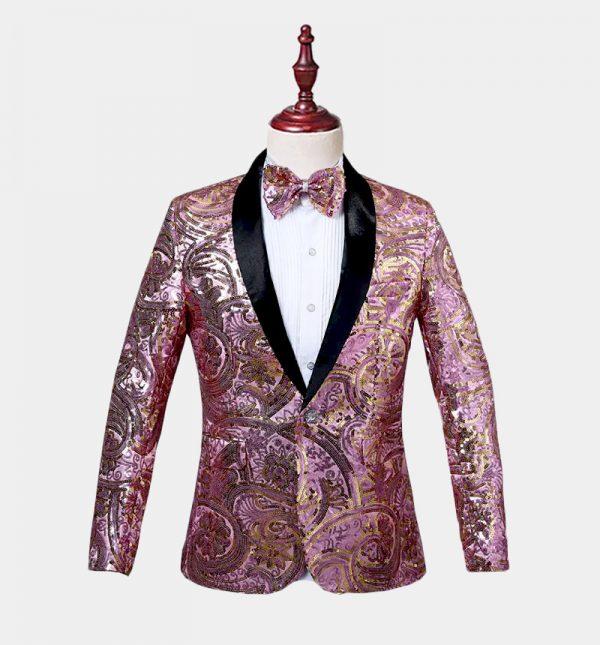 Mens Pink Sequin Tuxedo Jacket