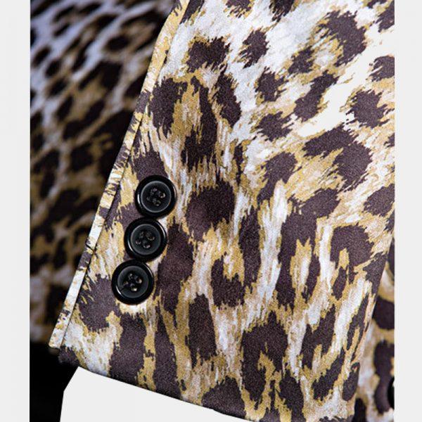 Mens Printed Leopard Pattern Blazer Jacket