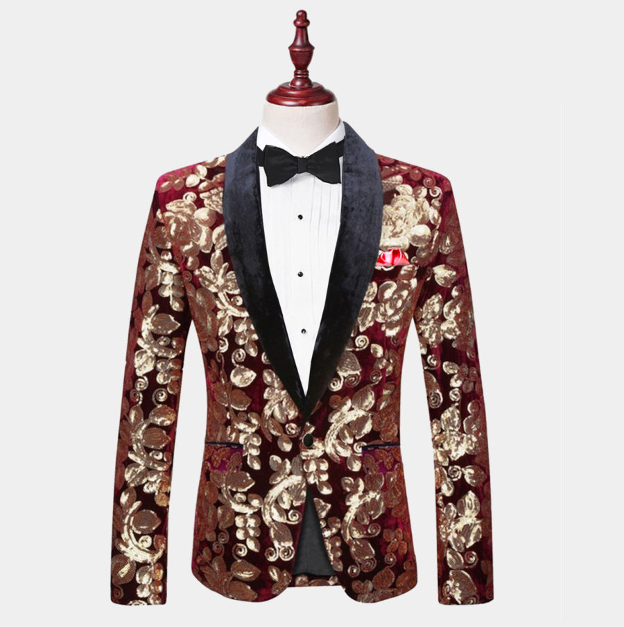 Mens Red Wine And Gold Tuxedo Jacket