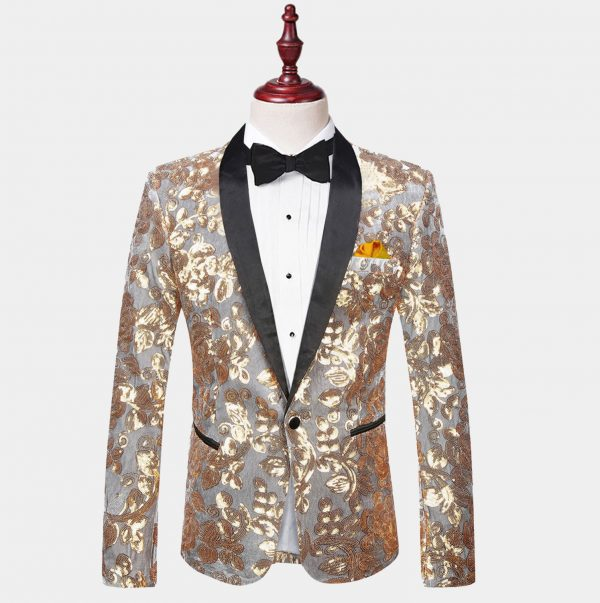 Mens Silver and Gold Tuxedo Jacket