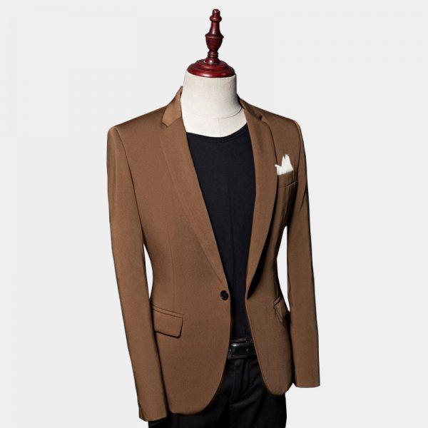 Slim Fit Brown Suit Jacket Mens