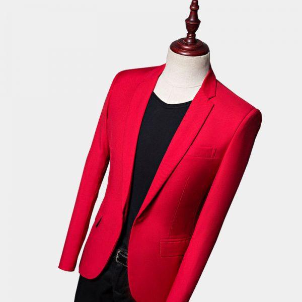 Toldder Red Suit Jacket Blazer Mens