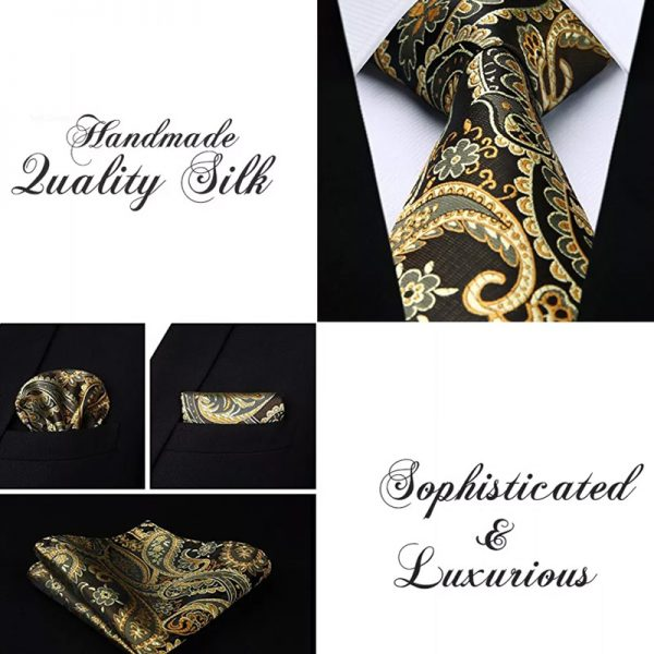 Black And Gold Paisley Tie Set