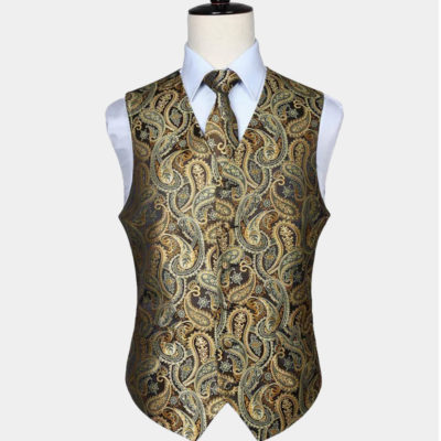 Black And Gold Paisley Vest Set