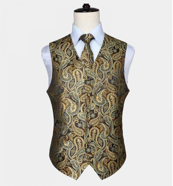 Black And Gold Paisley Vest Set