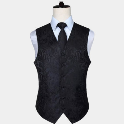 Black Paisley Vest and Tie Set