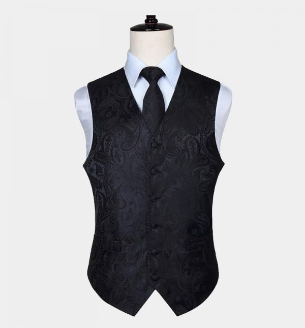 Black Paisley Vest and Tie Set