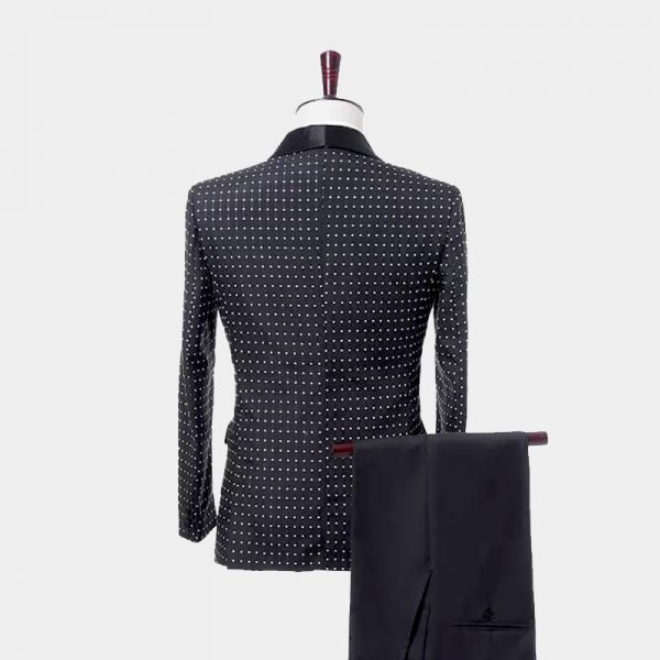 Black Polka Dot Tuxedo Suit from Gentlemansguru.com