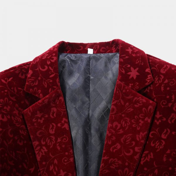Burgundy Floral Suit Jacket in Crushed Velvet