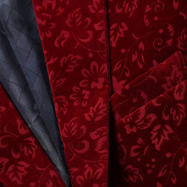 Burgundy Velvet Tux Jacket With Floral Design