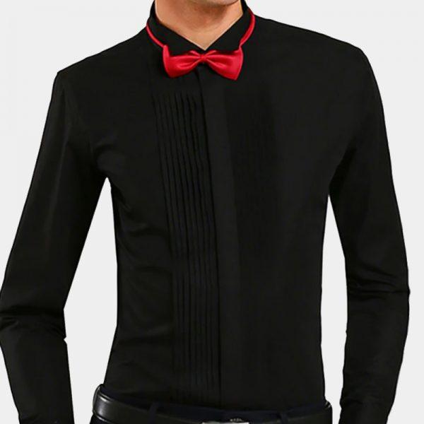 Buy Black French Cuff Tuxedo Shirt Online from Gentlemansguru.com