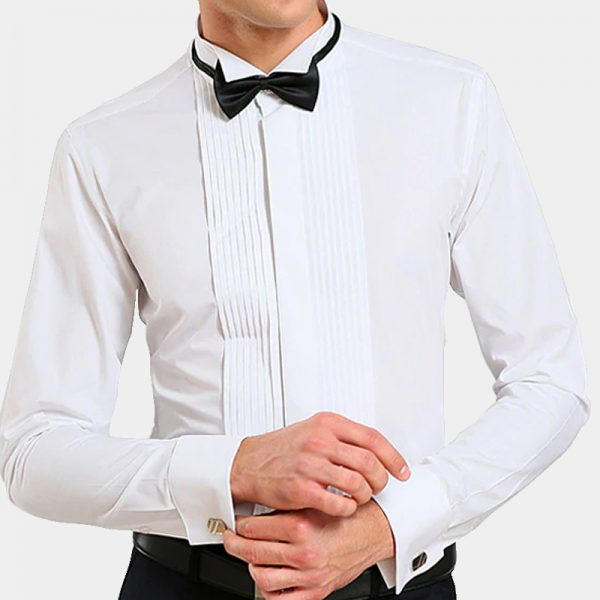 Buy White French Cuff Tuxedo Shirt online from Gentlemansguru.com