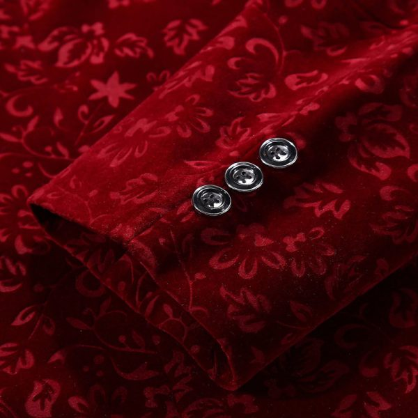 Deep Red Crimson floral velvet Blazer Coat