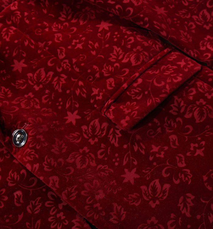 Floral Maroon Velvet Blazer Suit Jacket for Men