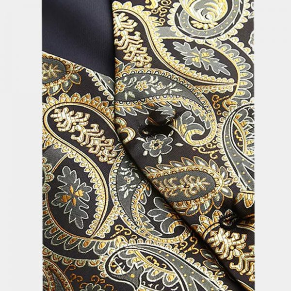 Mens Black And Gold Paisley Vest