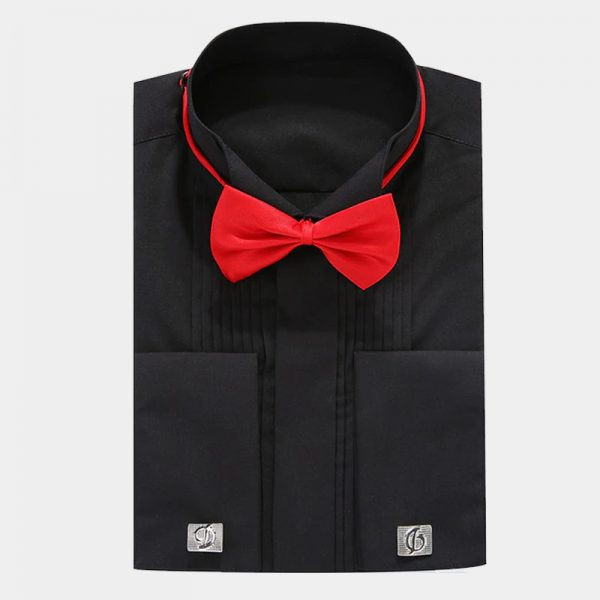 Mens Black French Cuff Tuxedo Shirt from Gentlemansguru.com