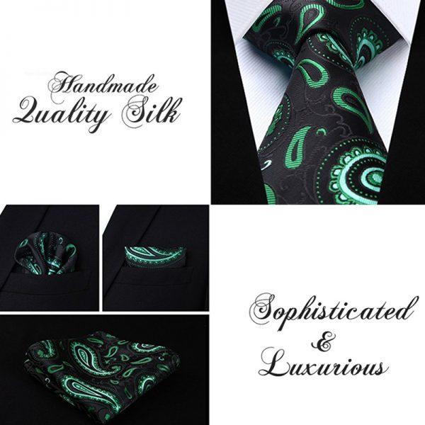 Mens Black & Green Paisley Ties And Pocket Square Set