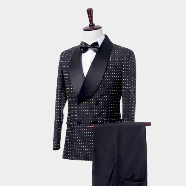 Mens Black Polka Dot Wedding Tuxedo from Gentlemansguru.com