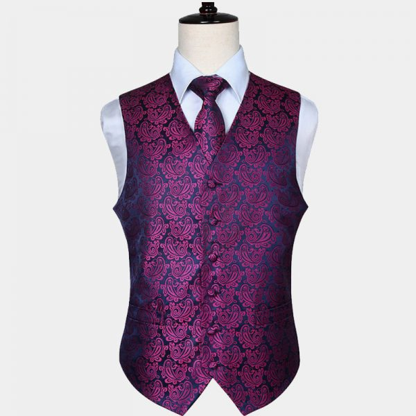Mens Dark Pink Paisley Vest Set