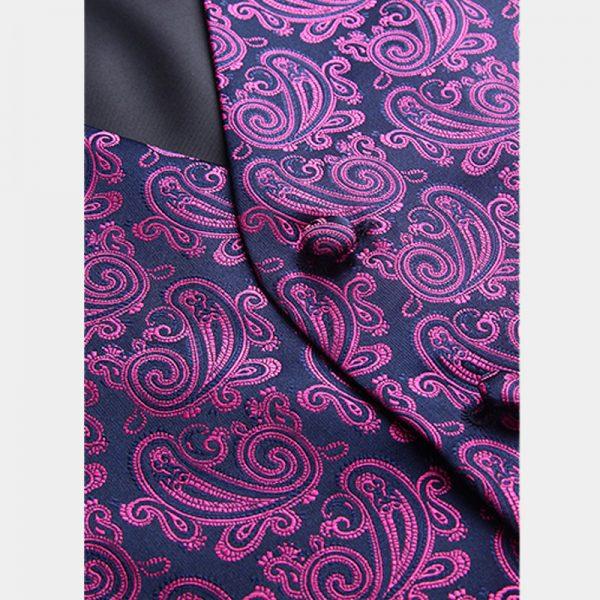 Mens Dark-Pink-Paisley Vest