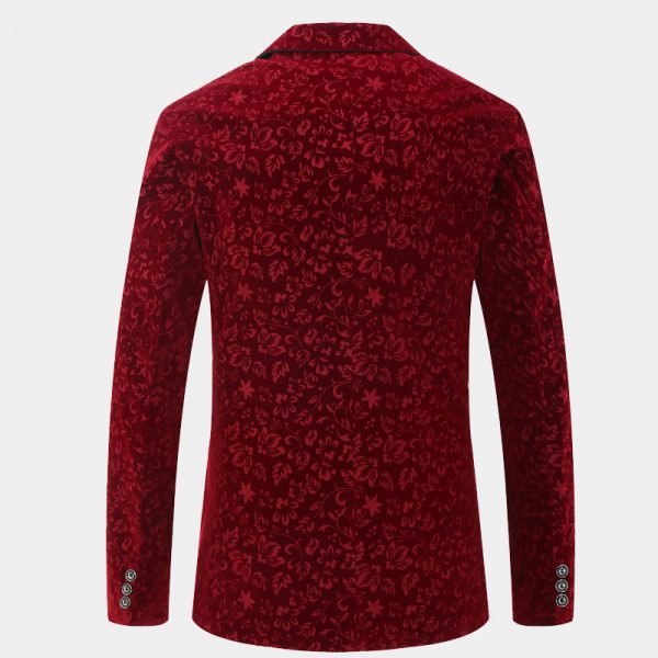 Mens Floral Burgundy Velvet Jacket