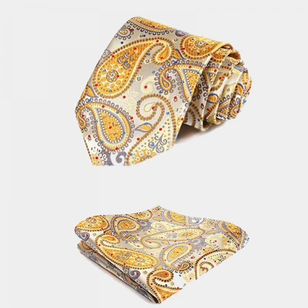 Mens Gold Paisley Necktie And Pocket Square Set