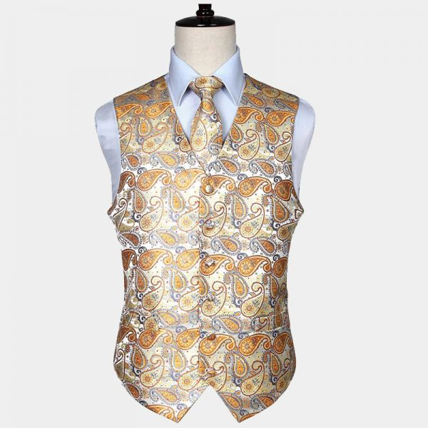 Mens Gold Paisley Vest Set