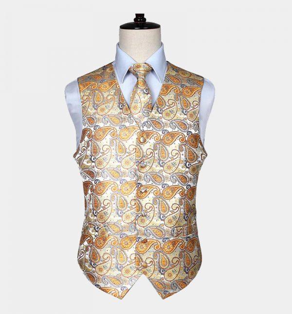 Mens Gold Paisley Vest Set