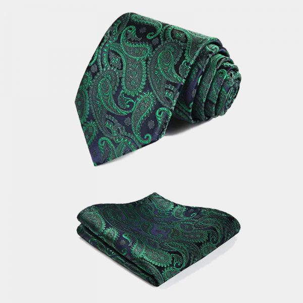 Mens Green Paisley Necktie And Pocket Square Set