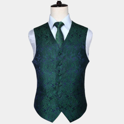 Mens Green Paisley Vest Set