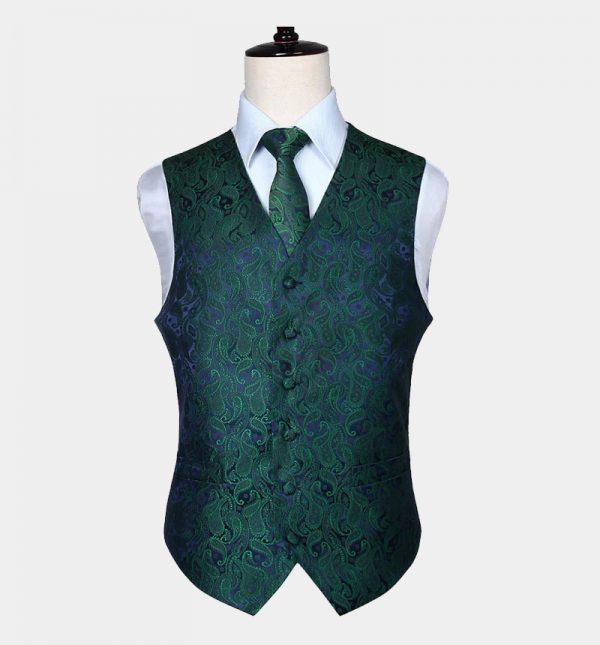 Mens Green Paisley Vest Set