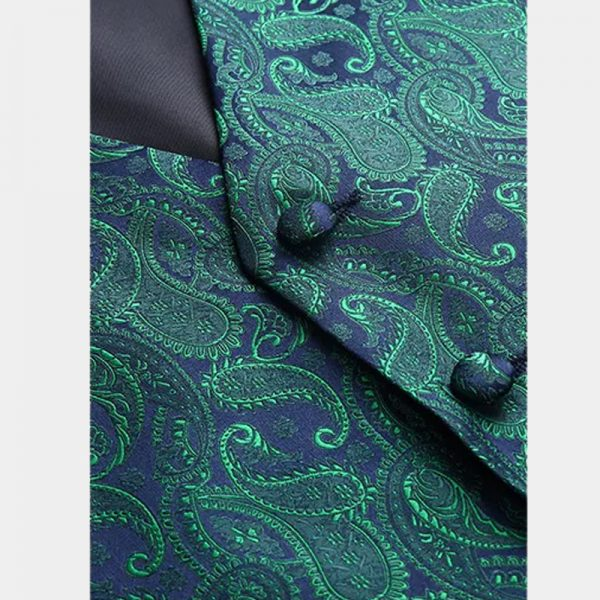 Mens Green Paisley Vest